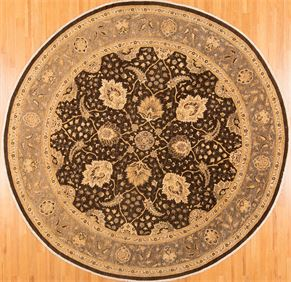 Round Oushak 75662<div>12 x 12 12-3 x 12-3 Brown/Gray hand-spun wool pile Hand-knotted in Pakistan rugs</div>