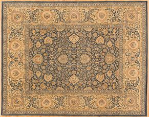 Agra 77202<div>8 x 10 8-2 x 10-4 Blue/Cream fine wool pile Hand-knotted in Pakistan rugs</div>