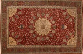 Tabriz 46414<div>15 x 25 14-4 x 24-4 Red/Navy fine wool pile Hand-knotted in Iran rugs</div>