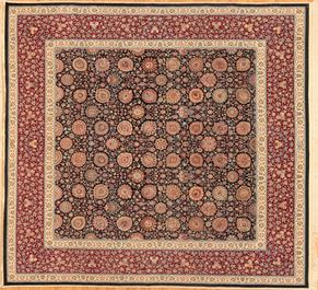 Meshad 71606<div>12 x 12 11-2 x 12-2 Black/Red fine wool and silk Hand-knotted in Iran rugs</div>
