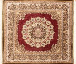 Hereke 84557 100% Fine Silk<div>7' Square 7 x 7-4 Ivory/Red 100% fine silk Hand-knotted in Turkey rugs</div>