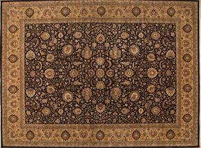 Kashan 86042<div>14 x 20 14-2 x 19-2 Black/Gold fine wool pile Hand-knotted in Pakistan rugs</div>