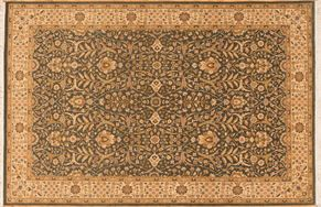 Kashan 73206<div>6 x 9 6 x 9-1 Green/Beige fine wool pile Hand-knotted in Pakistan rugs</div>
