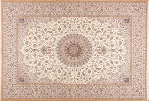 Isfahan 76731<div>16 x 24 16-2 x 23-4 Ivory/Beige fine wool and silk Hand-knotted in Iran rugs</div>