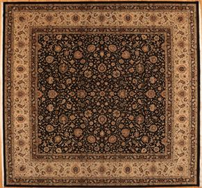 Tabriz 77163<div>14 x 15 14 x 15 Black/Cream fine wool pile Hand-knotted in Pakistan rugs</div>