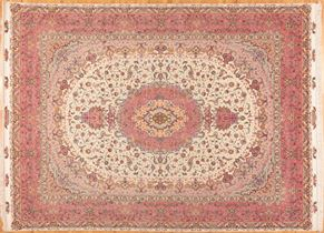 Tabriz 73480 Wool and Silk<div>10 x 14 10 x 13-1 Pink/Ivory fine wool and silk Hand-knotted in Iran rugs</div>