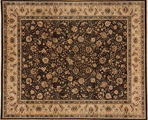 Kashan 86583<div>8 x 10 8 x 10-1 Black/Ivory fine wool pile Hand-knotted in Pakistan rugs</div>