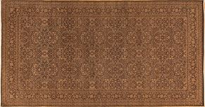 Kirman 55142<div>10 x 20 10 x 19-2 Brown/Gold fine wool pile Hand-knotted in Pakistan rugs</div>