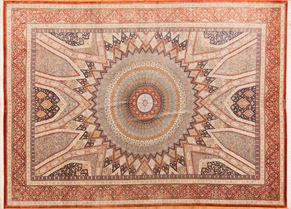 100% Fine Silk Qum 77541<div>9 x 12 9-8 x 13 Orange/Multi 100% Fine Silk Hand-knotted in Iran rugs</div>
