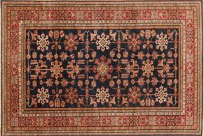Kazak 85716<div>6 x 9 6-1 x 9 Blue/Red hand spun wool pile Hand-knotted in Pakistan rugs</div>