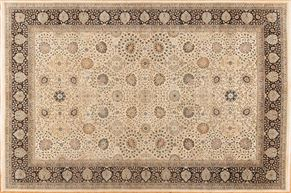 Kirman 85317<div>12 x 18 12 x 18-2 Ivory/Black fine wool pile Hand-knotted in Pakistan rugs</div>