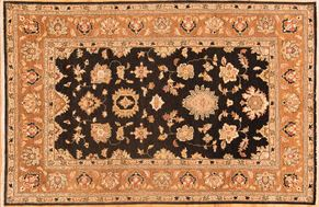 Oushak 77498<div>6 x 9 Black/Rust hand spun wool pile Hand-knotted in Pakistan rugs</div>