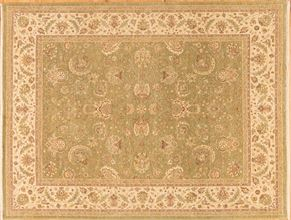 Sarouk 70981<div>8 x 10 7-10 x 10-2 Green/Cream hand-spun wool pile Hand-knotted in Pakistan rugs</div>