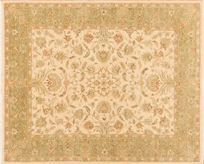 Oushak 70945<div>8 x 10 8 x 10 Cream/Green hand-spun wool pile Hand-knotted in Pakistan rugs</div>
