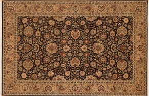 Kirman 66414<div>6 x 9 6 x 9-3 Black/Gold fine wool pile Hand-knotted in Pakistan rugs</div>