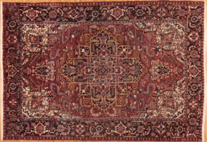 Heriz 74222<div>9 x 12 8-9 x 12-8 Red/Black hand-spun wool pile Hand-knotted in Iran rugs</div>