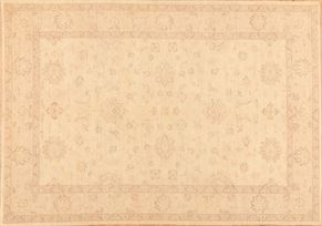 Oushak 83422<div>6 x 9 6-6 x 9-6 Ivory hand spun wool pile Hand-knotted in Pakistan rugs</div>