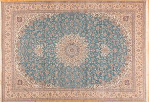 Nain 54046<div>13 x 20 13-7 x 20-4 Blue/Beige fine wool pile Hand-knotted in Iran rugs</div>