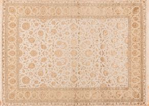 Tabriz 84905<div>9 x 12 9 x 12-2 Beige/Cream wool pile and silk Hand-knotted in India rugs</div>