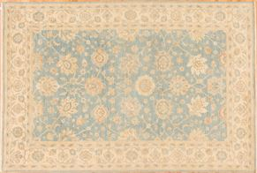 Oushak 84930<div>6 x 9 6 x 9 Blue/Ivory hand-spun wool pile Hand-knotted in Pakistan rugs</div>