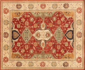 Serapi 85257<div>8 x 10 7-9 x 9-4 Rust/Ivory hand-spun wool pile Hand-knotted in Pakistan rugs</div>