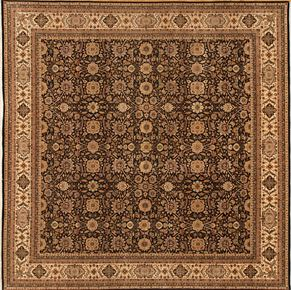Square 77345<div>15 x 15 15 x 15 Black/Ivory hand-spun wool pile Hand-knotted in Pakistan rugs</div>