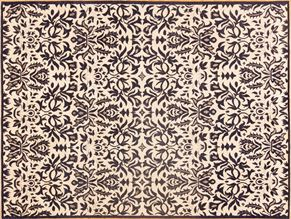 Contemporary 84759<div>9 x 12 9 x 12 Navy/Gray fine wool pile Hand-knotted in Pakistan rugs</div>