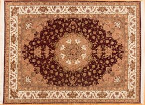 Tabriz C22016 Wool and Silk<div>9 x 12 Red/Cream fine wool & silk Hand-knotted in China rugs</div>