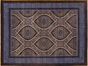 Oushak 85035<div>9 x 12 9 x 12-1 Black/Blue hand-spun wool pile Hand-knotted in Pakistan rugs</div>
