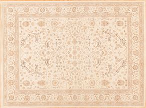 Oushak 85037<div>9 x 12 9 x 12 Ivory hand spun wool pile Hand-knotted in Pakistan rugs</div>