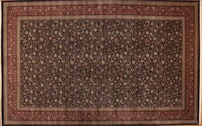 Tabriz 69338<div>16 x 26 Black/Red fine wool pile Hand-knotted in Pakistan rugs</div>