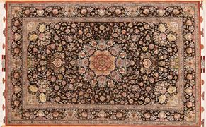 Tabriz 68296 Wool and Silk<div>8 x 10 6-6 x 10 Black fine wool and silk Hand-knotted in Iran rugs</div>