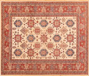 Kazak 76922<div>8 x 10 8-1 x 9-9 Red/Blue fine wool pile Hand-knotted in Pakistan rugs</div>