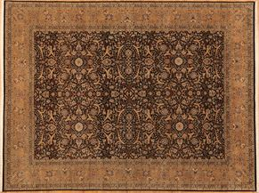Tabriz 80656<div>9 x 12 8-10 x 12 Black/Gold fine wool pile Hand-knotted in Pakistan rugs</div>