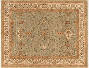 Kirman 58403<div>9 x 12 9 x 11-10 Green/Cream fine wool pile Hand-knotted in Pakistan rugs</div>
