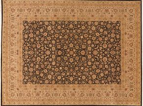 Kirman 73995<div>9 x 12 9 x 12-4 Black/Cream fine wool pile Hand-knotted in Pakistan rugs</div>