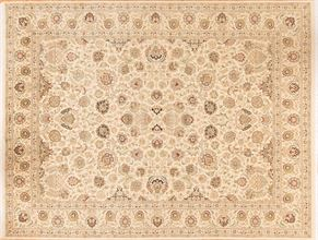 Kashan 80329<div>9 x 12 9 x 11-9 Cream/Cream fine wool pile Hand-knotted in Pakistan rugs</div>