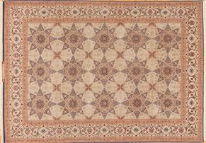 Isfahan 71228<div>9 x 12 8-3 x 11-6 Ivory/Multi fine wool and silk pile Hand-knotted in Iran rugs</div>
