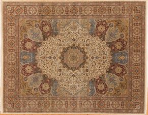 Tabriz 85310<div>12 x 15 11-10 x 15 Ivory/Multi very fine wool pile Hand-knotted in Pakistan rugs</div>