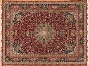 Tabriz 72176<div>10 x 14 10 x 13-1 Red/Black very fine wool and silk Hand-knotted in Iran rugs</div>