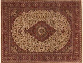 Kashan 74544<div>9 x 12 9-1 x 11-10 Cream/Red very fine wool pile Hand-knotted in Pakistan rugs</div>
