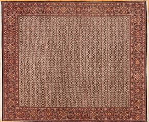 Bidjar 76651<div>8 x 10 8-2 x 9-9 Ivory/Red very fine wool pile Hand-knotted in Iran rugs</div>