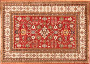Kazak 84974<div>8 x 10 7-1 x 11 Red hand spun wool pile Hand-knotted in Pakistan rugs</div>