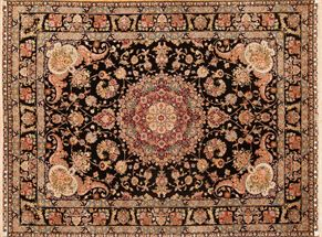 Tabriz 73607 Wool and Silk<div>10 x 14 9-9 x 13-1 Black fine wool and Silk Hand-knotted in Iran rugs</div>