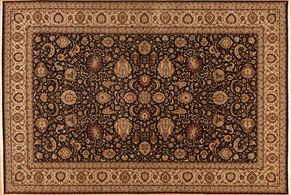 Kirman 70702<div>12 x 18 11-10 x 17-8 Black/Ivory fine wool pile Hand-knotted in Pakistan rugs</div>