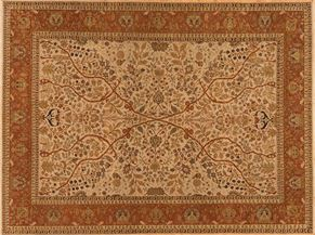 Tabriz 81176<div>9 x 12 8-10 x 11-10 Beige/Red fine wool pile Hand-knotted in India rugs</div>
