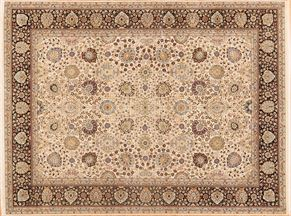 Kashan 84308<div>9 x 12 9-1 x 12-1 Cream/Blue wool & silk pile Hand-knotted in Pakistan rugs</div>