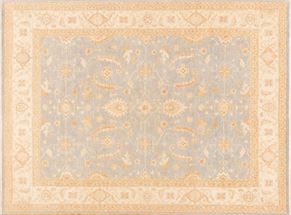 Oushak 84273<div>9 x 12 9-1 x 12-1 Ice Blue/Cream hand spun wool pile Hand-knotted in Pakistan rugs</div>
