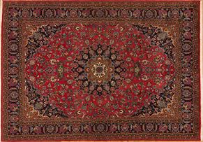 Meshad 79458<div>8 x 10 8 x 11-5 Red/Black fine wool pile Hand-knotted in Iran rugs</div>