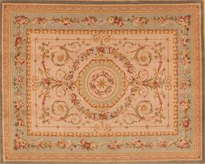 Aubusson C23153<div>8 x 10 7-9 x 10 Gray fine wool pile Hand-knotted in China rugs</div>
